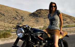 girl, people, girl with bikes, Cafe Racer, glasses