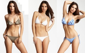 Emily Ratajkowski, bikini, girl, looking at viewer, simple background, collage