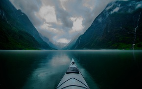 morning, kayaks, nature, fjord, creeks, landscape