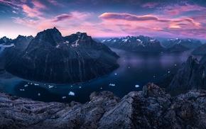 landscape, clouds, mountain, sunset, fjord, rock