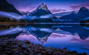 mist, snowy peak, reflection, clouds, morning, blue