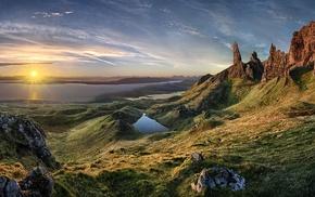 grass, Scotland, sunlight, Skye, rock, sunrise