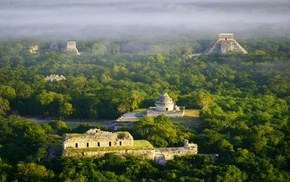 landscape, Chichen Itza, morning, temple, Mexico, nature