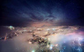 New York City, nebula, nature, landscape, mist, starry night