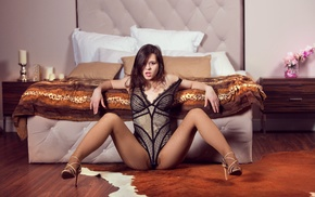 open mouth, pantyhose, spread legs, Audrey, bed, heels