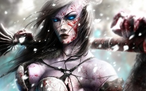 warrior, girl, blood, blue eyes, artwork, fantasy art