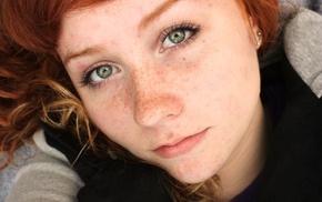face, redhead, closeup