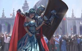 knight, painting, princesses, WLOP