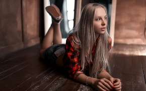 wooden surface, blonde, legs up, Stepan Gladkov, girl, looking away
