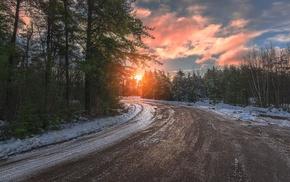 sunset, road