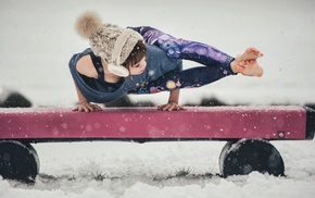 girl, barefoot, Asian, snow, yoga
