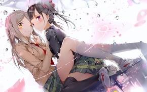 anime, umbrella, Minami Shizuku, Sakura Trick, Noda Kotone, anime girls