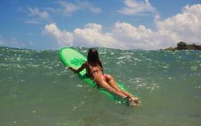 brunette, bikini, girl, ass, surfing, Aleksandr Mavrin