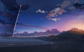 nature, sunset, anime