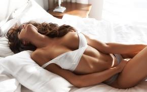 model, bed, girl