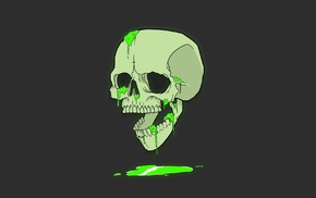 artwork, humor, minimalism, green, bones, skull