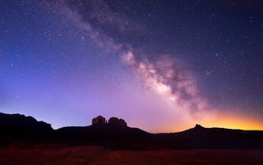 landscape, stars, Milky Way, space