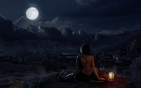 lamps, tattoo, clouds, moon, Willages, sky