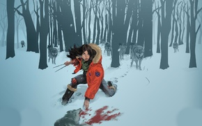 fantasy art, wolves, snow, blood, X, Men