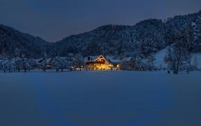 snow, house