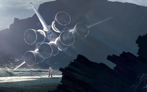 astronaut, space shuttle, Kuldar Leement, beach