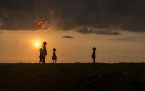silhouette, children