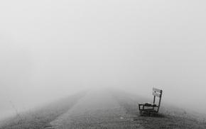 mist, bench, path