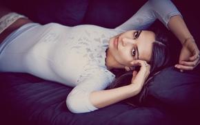 couch, hands on head, Emily Ratajkowski, girl, brunette, model