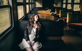 model, girl, train