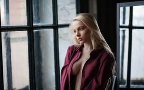 model, blonde, window, Maxim Maksimov, blue eyes, Maria Popova