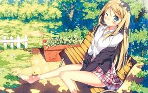 barefoot, original characters, anime girls, Kantoku, ecchi, school uniform