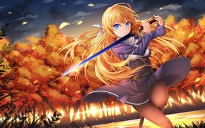 pantyhose, weapon, blue eyes, sword, anime girls, blonde