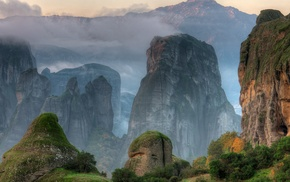 mountain, nature, mist, clouds, rock, HDR