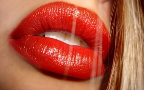 juicy lips, girl, blonde, face, gloss, red lipstick
