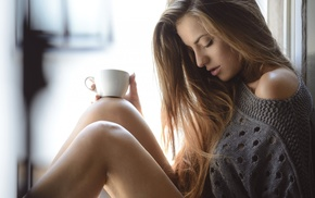 coffee, long hair, blonde, sweater, bare shoulders, closed eyes