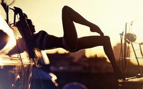 flat belly, brunette, closed eyes, sunset, panties, depth of field
