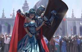 WLOP, girl, knights, painting, knight, artwork