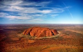 landscape, Uluru, rock, Ayers Rock, desert, nature