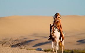 Native American clothing, desert, horse, girl, girl outdoors, model