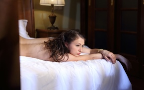 model, girl, bed