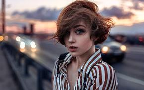 Olya Pushkina, girl, depth of field, Georgiy Chernyadyev, portrait, windy