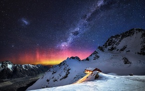 mountain, nature, landscape, Milky Way, stars, snow