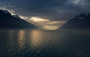 atmosphere, sunlight, sun rays, Switzerland, birds, dark