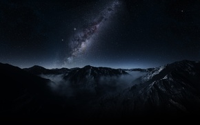 dark, mist, mountain, nature, landscape, galaxy