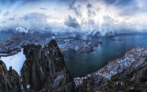 panoramas, torchlight, nature, mountain, sea, snow