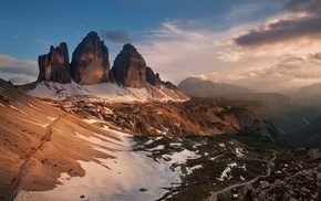 Dolomites mountains, sunrise, Italy, nature, summer, landscape
