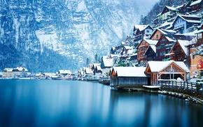 water, photography, winter, lake, house, Hallstatt