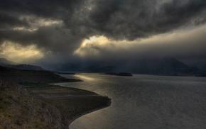 landscape, nature, storm, mist, mountain, lake