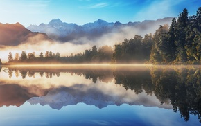 mountain, forest, nature, water, sunrise, lake