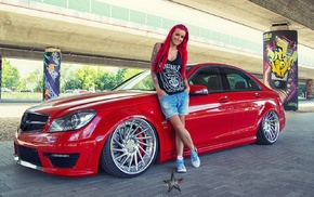 red cars, Mercedes, AMG, redhead, model